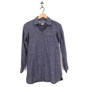 Madewell Chambray Button Down Tunic Shirt XS